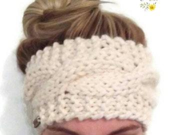Knit ear warmer (cable ear warmer) (wool blend ear warmer) (women's ear warmer) (ladies head wrap) (ear warmer)