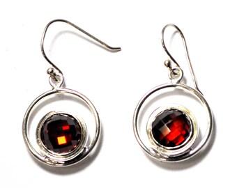 "Sterling Silver Round Red Garnet Halo Dangle Earrings 1.5"""