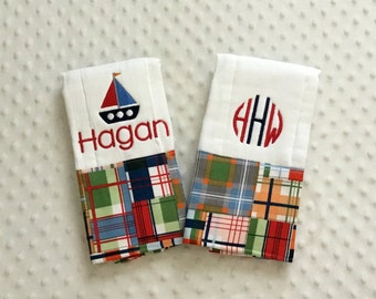 Personalized Set of 2 Baby Boy Burp Cloths, Madras Fabric nautical theme