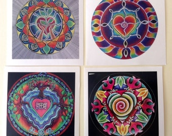 4 Heart Mandala Sticker  Series Original Prismacolor Pencil Illuminated Drawing
