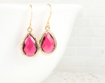 Ruby Gold Teardrop Earrings, July Birthstone Gold Framed Earrings, Ruby Earrings, July Birthday Gift, Bridesmaid Jewelry, Bridesmaid Gift
