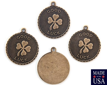 Brass Ox Good Luck Clover Charm Drop with Loop (4) chr194LL