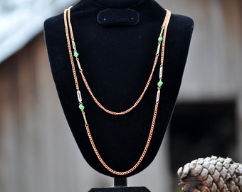 "Fabulous 54"" Copper Chain, 1970's, Jewelry findings, supplies, craft supplies, green stone, #50"