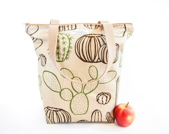 Zippered Tote Shopping Bag - Cactus / Cacti (Natural / Beige)
