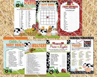 Barnyard Baby Shower Games: Farm Animal Theme, Bingo, Price is Right, Word Scramble, Printable Boy Baby Shower Game Pack, INSTANT DOWNLOAD