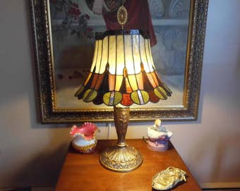 Leaded Jeweled Stained Slag Glass Lamp Vintage 1930's Decorative Base Intricate Shade Jewel Buttons Carmel Green Amethyst Amber
