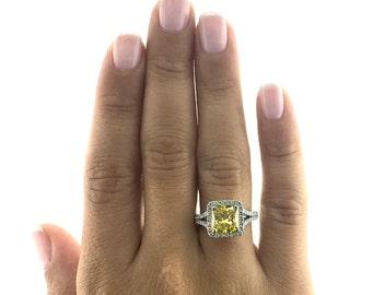 Fancy Yellow Diamond Ring, Diamond Halo Ring, 18K White Gold Ring, Gold Halo Ring, Diamond Gold Ring, Engagement Accessory,Pave Diamond Ring