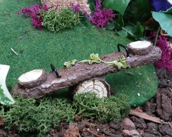 Rustic Tree Log Seesaw Miniature For Fairy Garden or Dollhouse Playtime Fun