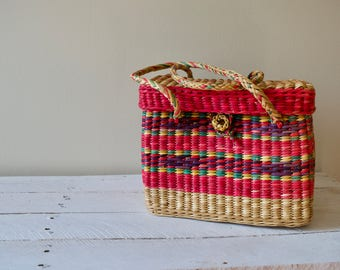 Vintage Woven Basket || Colorful Straw Bag