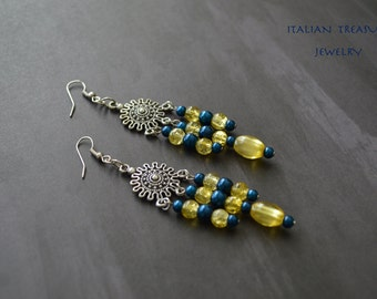 Yellow And Blu Dangle Earrings.Boho Earrings.Bohemian Earrings.Dangle Earrings.Gift For Her.Gift Idea.Gift For Mom.Tribal Earrings.
