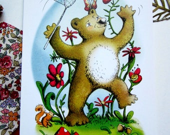 Illustrated postcard / bears and butterflies
