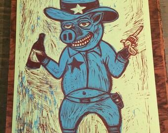 PIG POSTER Letterpress Print Pork Sheriff WOODCUT bbq pig cowboy pig art western pork print Man Cave gift for meat lovers folk art for cooks