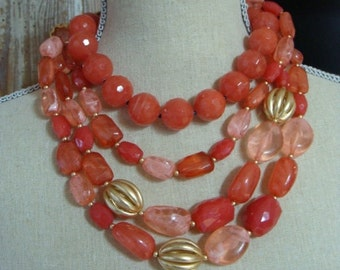 Gorgeous Vintage High End Midcentury Statement Bib Necklace One of a Kind