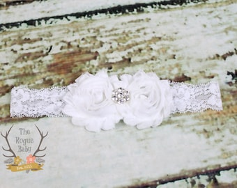 White Lace Headband Diamond Rhinestone -  Flower Girl - Newborn Infant Baby Toddler Girls Adult Wedding