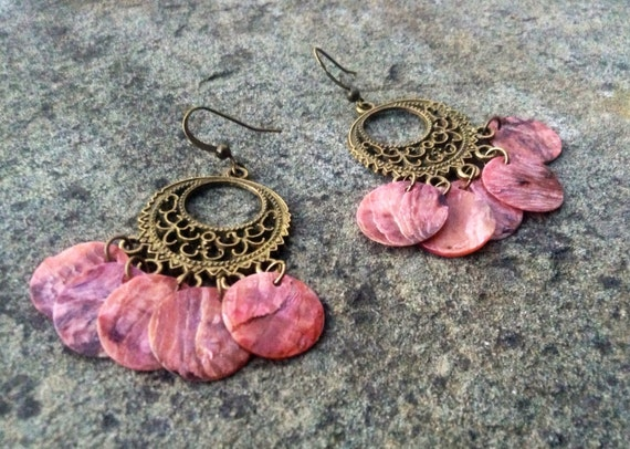 """Pink """"Simply Chandelier"""" Mussel Shell Earrings"""