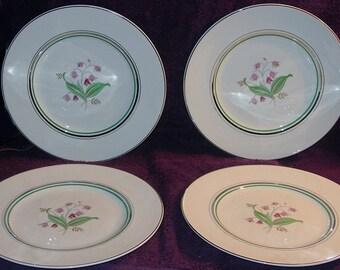 "4 Mid-Century Old Ivory Syracuse Coralbel Platinum Trim 10"" Dinner Plates Free Shipping"