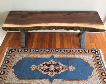 Scandinavian Style Live Edge Entryway Bench  | Black Walnut Slab | Contemporary Furniture | Rustic Industrial Mid Century Modern
