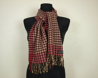 Wool scarf, brown red houndstooth scarf, Made in Italy long rectangle shape Wool scarf, Italy scarf, Italian wool scarf pink brown scarf