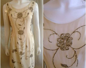 Vintage 1950s Dress White Crepe Wiggle Dress with Floral Beading Wedding Guest