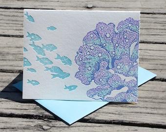 Ayanishiki Aqua Letterpress Card