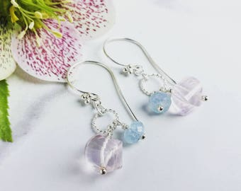 Rose Quartz earrings with Aquamarine and Sterling Silver. Pastel pink and blue gemstones