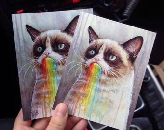 Funny Cat Postcards Grumpy Cat Cards Rainbow Watercolor Cat Painting Geek Meme Postcards Whimsical Animal Cards Funny Painting Cards