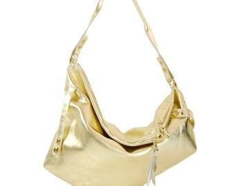 Bibi - Handmade Metallic Gold Leather Shoulder Hobo Bag