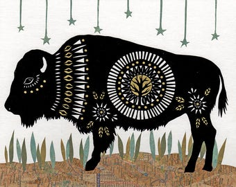 Pawing The Prairie Sod - 8 X 10 inch Cut Paper Art Print