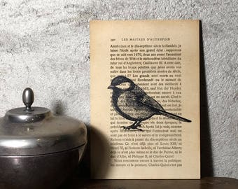 bird vintage book page art print hand made gift