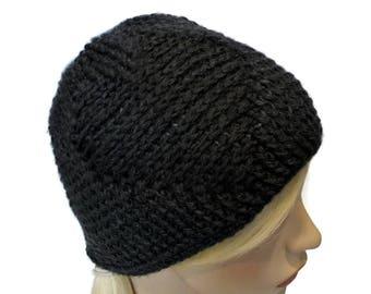Black Crochet Beanie, Heart Embossed, Charcoal Gray Hat, Hats for Women, Teen Beanie, Winter Hat, Crochet Hat, Unique Beanies and Hats