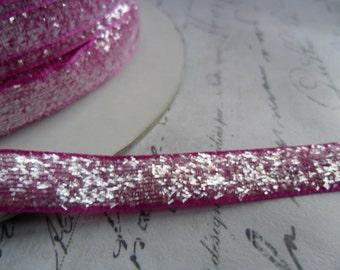 Sugared Raspberry  Metallic Velvet  Ribbon 3/8 wide