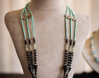 3 strand Turquoise - Agate Necklace