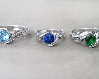 Leaves Engagement Ring, Alternative Engagement Ring, White Gold Leaf Ring, Moonstone Leaf Ring, Sapphire Leaves Ring, Emerald Leaves Ring