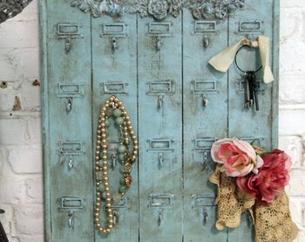 RESERVED for LORI Painted Cottage Chic Shabby Aqua Hotel Key Holder VF256