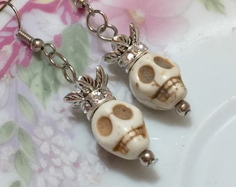 Day of the Dead Earrings, Rhinestone Crown Skull Earrings, Dia de Los Muertos Jewelry, Creepy Halloween Skull, Morbid Bone Color Howlite