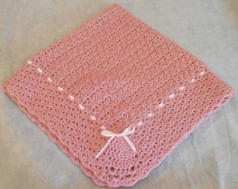 Pink Crocheted Baby Blanket - Crocheted Pink Baby Afghan- Crocheted Pink Lap Blanket - 34X32 Pink Blanket - Dusty Rose Baby Blanket