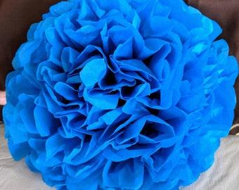 Malibu Blue Tissue Paper Flower Pom/ Tissue Paper Pom/ Tissue Paper Flower