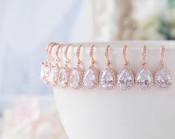 Set of 6 Rose Gold Bridesmaid Earrings 15% OFF, Teardrop Clear Crystal Cubic Zirconia Wedding Earrings, Bridal Earrings, Bridesmaid Gift