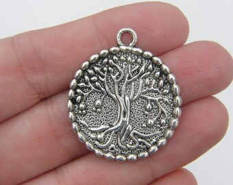 2 Tree pendants antique silver tone T22