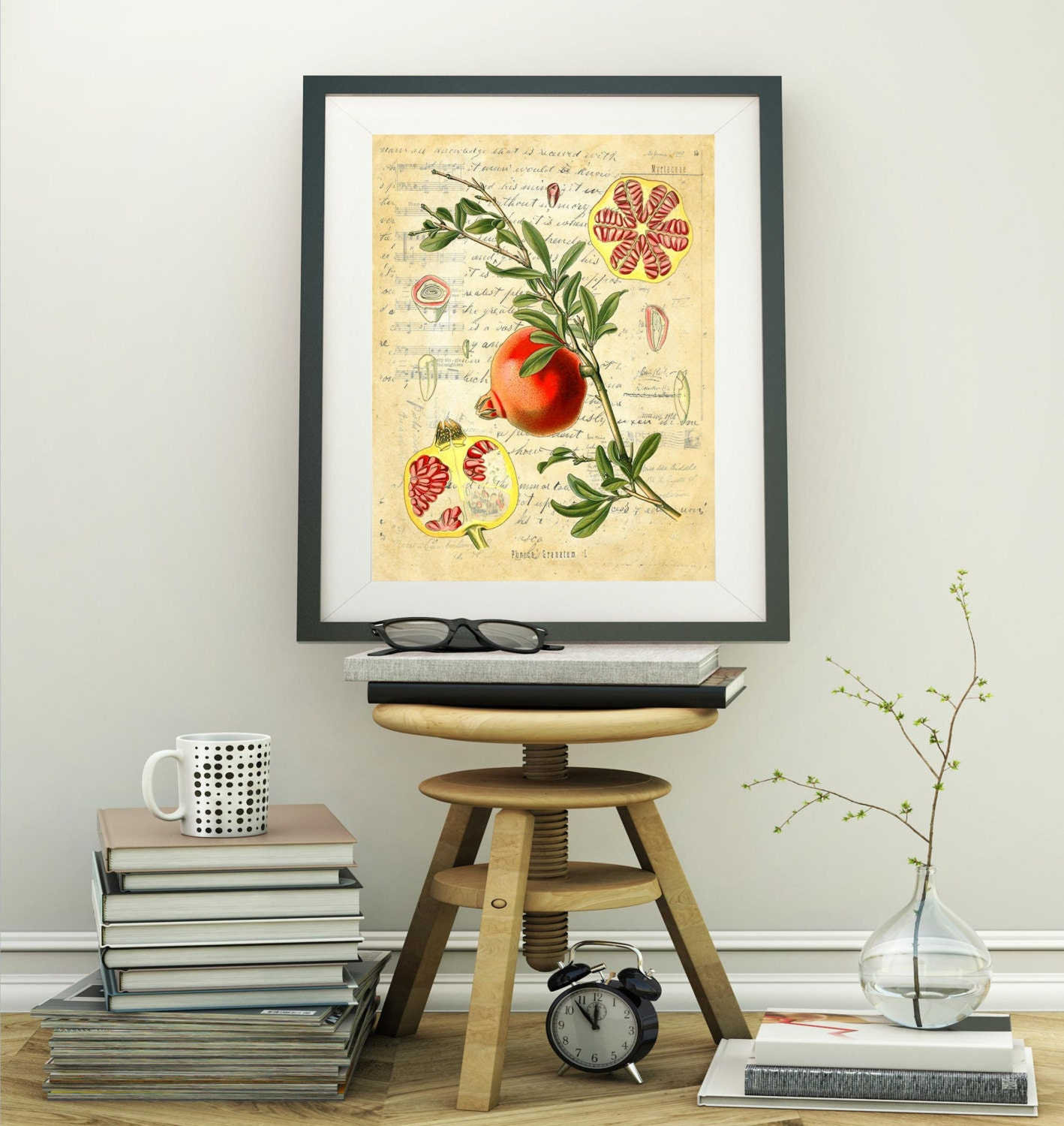 Botanical Print Pomegranate fruit farmhouse decor choice of ...