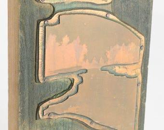Vintage Copper PRINTING Plate WOODEN Block Wisconsin Dells WI Press Letterpress