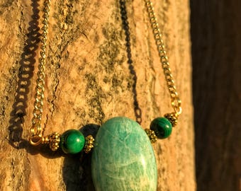 AMAZONITE & MALACHITE Crystal Necklace on Antique Gold Chain | Genuine Teardrop Pendant, Unisex Crystal Healing Necklace for Heart Chakra
