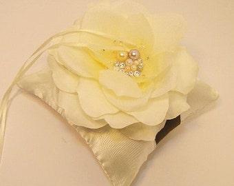 Custom Wedding ring bearer pillow flower with Swarovski  Pearls and  Swarovski Crystals -Custom order.