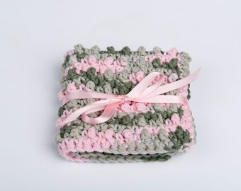 Spa Scrubbie- Washcloth Crochet Cotton- Exfoliating- variegated green and pink