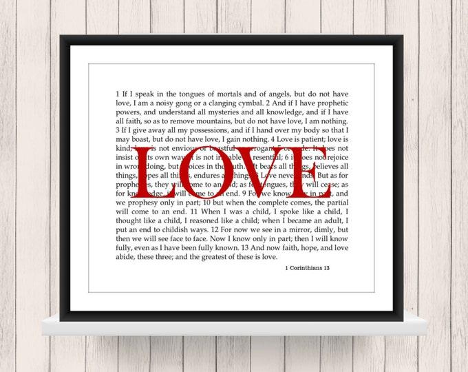 Wall Art 1 Corinthians 13  Love Scripture   Digital Download