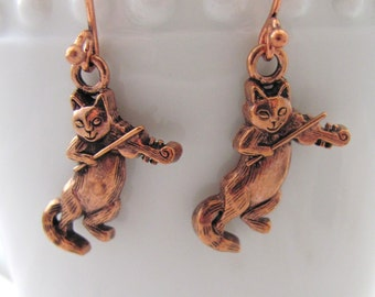 Cat and the Fiddle Copper Plated Pierced Earrings