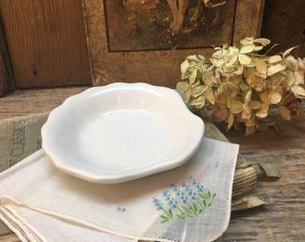 White Ironstone Soap Dish/Shell Shape/Buffalo by Oneida/Farmhouse Bath