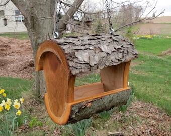 Log Bird Feeder, Fly Through Feeder, Unique Bird Feeder, Upcycled Bird Feeder, Natural Log Bird Feeder, Housewarming Gift , Unique Gift