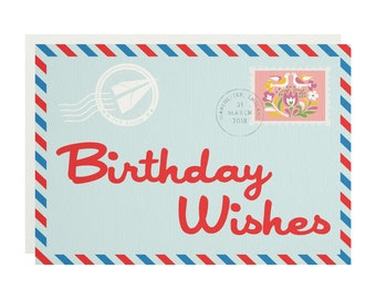 Birthday Airmail Greetings Card