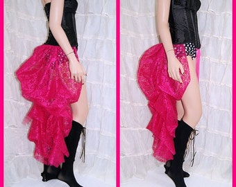 Fuchsia Hot Pink  sexy Lace Bustle Wrap dance showgirl burlesque rave MTCoffinz - All Adult Sizes